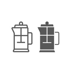 french press line and glyph icon kitchen vector image