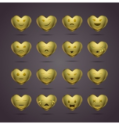 Funny metal heart-shaped emoticons vector