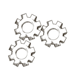 Gear mechanical collaboration team engraving vector