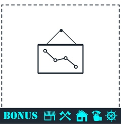 Graph down icon flat vector