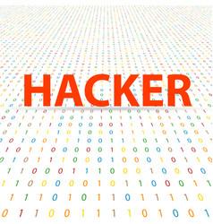 Hacker inscription on a digital background vector