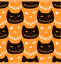 halloween seamless pattern with cats vector image