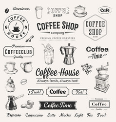 hand drawn set coffee vector image