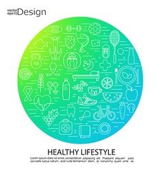 Healthy lifestyle concept symbols vector image