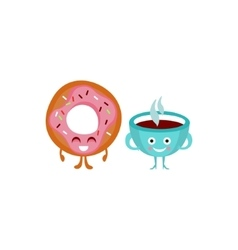 Humanized Coffee And Doughnut vector