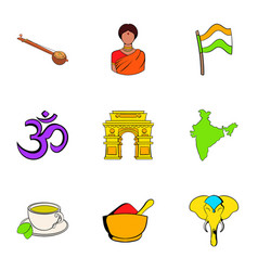 Indians icons set cartoon style vector