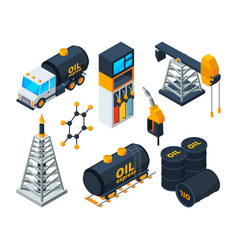 industry 3d isometric of oil and gas vector image