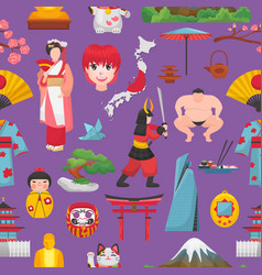 japan japanese culture and geisha in kimono vector image