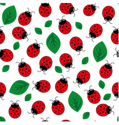 Ladybug with leaves seamless pattern vector
