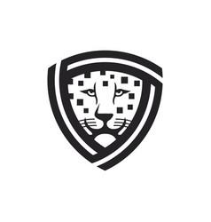 leopard shield logo vector image