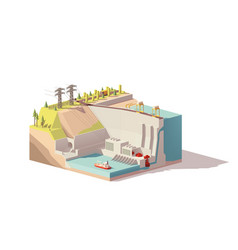 Low poly hydroelectric power station vector