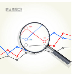 Magnifying glass over charts - data statisics vector