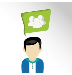 Man avatar with telecommunication icons vector