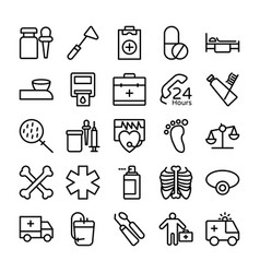 medical health and hospital line icons 9 vector image