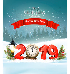 Merry christmas background with 2019 and clock vector