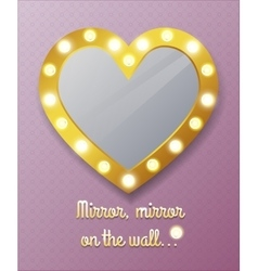 Mirror in shape of heart on wall vector