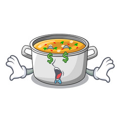Money eye cartoon homemade stew soup in the pot vector