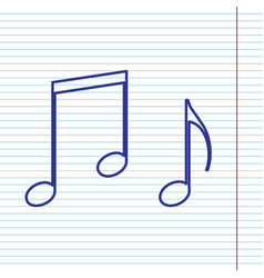music notes sign navy line icon on vector image