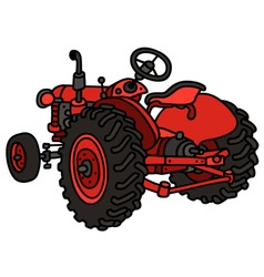 Old red open tractor vector