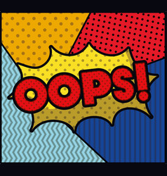 Oops word pop art style expression vector