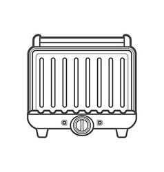 Outline metal kitchen electric grill vector