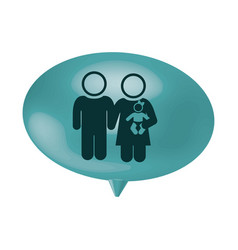 Oval speech with pictogram of couple and baby vector