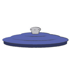 Pan lid colorful silhouette with blurred contour vector