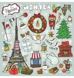 Paris winterDoodle christmas symbolsColored vector image