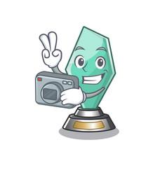Photographer acrylic trophy mascot on a cartoon vector