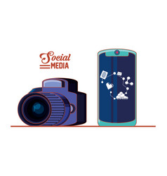 photographic camera with smartphone and social vector image