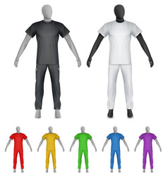 Plain shirt and sweatpants on mannequin template vector