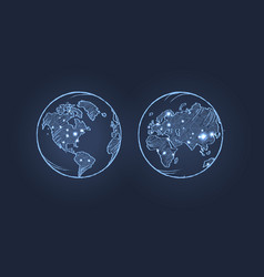 Planet earth from two sides vector