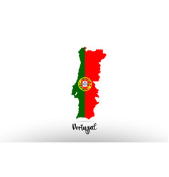 Portugal country flag inside map contour design vector