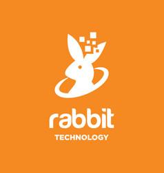rabbit technology logo vector image