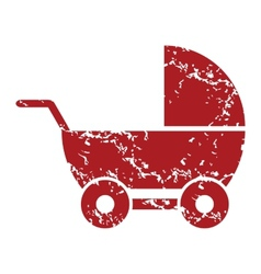 Red grunge baby carriage logo vector image