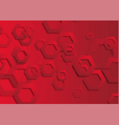 red tech paper hexagons abstract background vector image