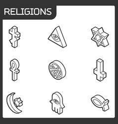 religions outline isometric icons vector image