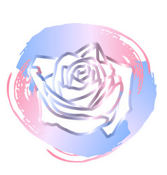 Rose with gold lines on the background of brush vector