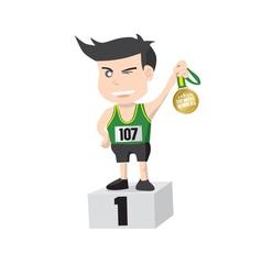 Runner Athlete Showing Golden Medal Winner vector