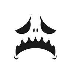 Sad monster face icon scary or evil emoji vector