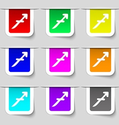 Sagittarius icon sign Set of multicolored modern vector image