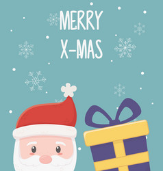 santa with gift snowflakes merry christmas card vector image