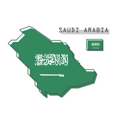saudi arabia map and flag modern simple line vector image