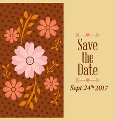 save the date flower natural dots decoration vector image