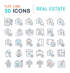 Set line icons real estate vector