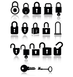 Set of lock and key icons vector