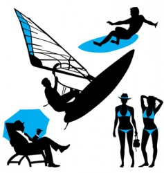 Several persons are on the beach in a summertime vector image