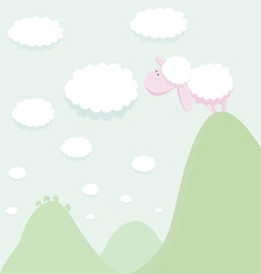 sheep standing on top a mountain looking at the vector image