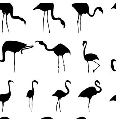 silhouette flamingos seamless pattern black vector image