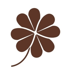 Silhouette of clover four leaves in brown color vector